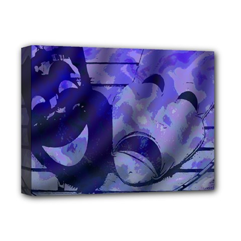 Blue Comedy Drama Theater Masks Deluxe Canvas 16  X 12   by BrightVibesDesign