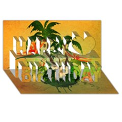 Tropical Design With Flowers And Palm Trees Happy Birthday 3d Greeting Card (8x4)