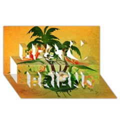 Tropical Design With Flowers And Palm Trees Best Friends 3d Greeting Card (8x4)