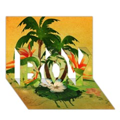 Tropical Design With Flowers And Palm Trees Boy 3d Greeting Card (7x5)
