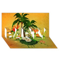 Tropical Design With Flowers And Palm Trees Party 3d Greeting Card (8x4)