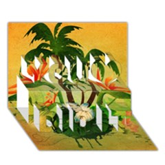 Tropical Design With Flowers And Palm Trees You Did It 3d Greeting Card (7x5) by FantasyWorld7