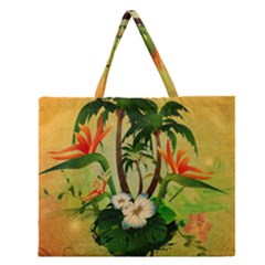 Tropical Design With Flowers And Palm Trees Zipper Large Tote Bag by FantasyWorld7