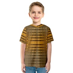 Yellow Gold Khaki Glow Pattern Kid s Sport Mesh Tee by BrightVibesDesign