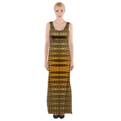 Yellow Gold Khaki Glow Pattern Maxi Thigh Split Dress by BrightVibesDesign