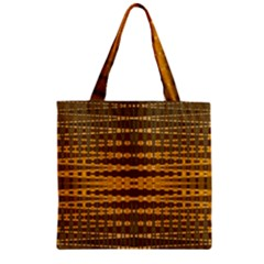 Yellow Gold Khaki Glow Pattern Zipper Grocery Tote Bag by BrightVibesDesign
