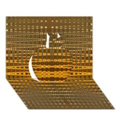 Yellow Gold Khaki Glow Pattern Apple 3d Greeting Card (7x5)