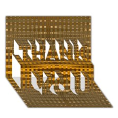 Yellow Gold Khaki Glow Pattern Thank You 3d Greeting Card (7x5)