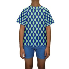 Mod Retro Green Circles On Blue Kid s Short Sleeve Swimwear by BrightVibesDesign