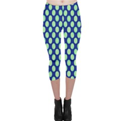 Mod Retro Green Circles On Blue Capri Leggings  by BrightVibesDesign