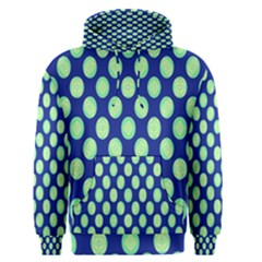 Mod Retro Green Circles On Blue Men s Pullover Hoodie by BrightVibesDesign