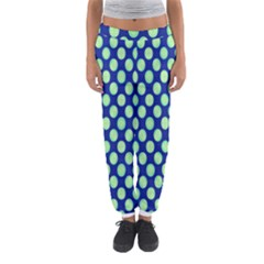 Mod Retro Green Circles On Blue Women s Jogger Sweatpants by BrightVibesDesign