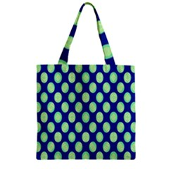 Mod Retro Green Circles On Blue Zipper Grocery Tote Bag by BrightVibesDesign