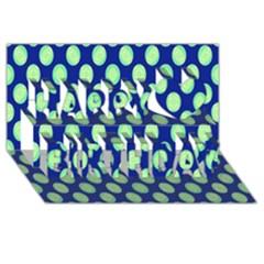 Mod Retro Green Circles On Blue Happy Birthday 3d Greeting Card (8x4)