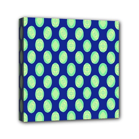 Mod Retro Green Circles On Blue Mini Canvas 6  X 6  by BrightVibesDesign