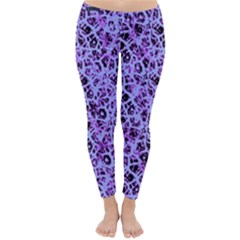Officially Sexy Light Purple & Black Cracked Pattern Winter Leggings  by OfficiallySexy