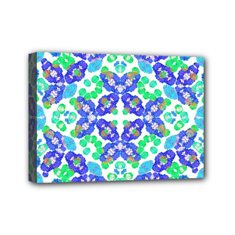 Stylized Floral Check Seamless Pattern Mini Canvas 7  X 5  by dflcprints