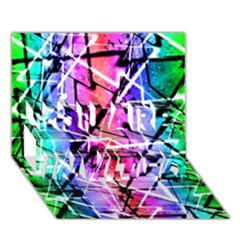 Multicolor Geometric Grunge You Are Invited 3d Greeting Card (7x5)  by dflcprints