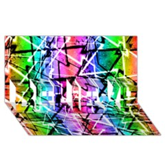 Multicolor Geometric Grunge Believe 3d Greeting Card (8x4)  by dflcprints