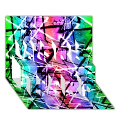 Multicolor Geometric Grunge Work Hard 3d Greeting Card (7x5)  by dflcprints