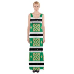 Green Rhombus And Stripes           Maxi Thigh Split Dress by LalyLauraFLM