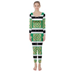Green Rhombus And Stripes            Long Sleeve Catsuit by LalyLauraFLM