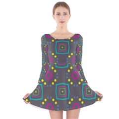 Squares And Circles Pattern Long Sleeve Velvet Skater Dress