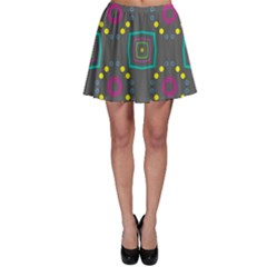 Squares And Circles Pattern Skater Skirt