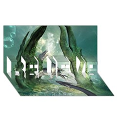 Awesome Seadraon In A Fantasy World With Bubbles Believe 3d Greeting Card (8x4)  by FantasyWorld7