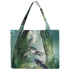 Awesome Seadraon In A Fantasy World With Bubbles Mini Tote Bag by FantasyWorld7