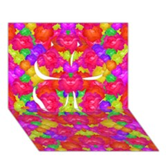 Multicolor Floral Check Clover 3d Greeting Card (7x5)  by dflcprints
