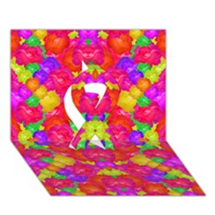 Multicolor Floral Check Ribbon 3d Greeting Card (7x5)  by dflcprints