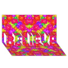 Multicolor Floral Check Believe 3d Greeting Card (8x4)  by dflcprints