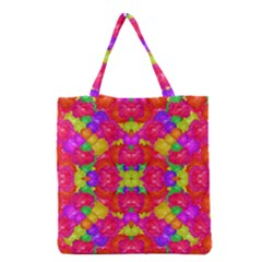 Multicolor Floral Check Grocery Tote Bag by dflcprints