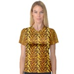 Just Tiger Women s V-Neck Sport Mesh Tee