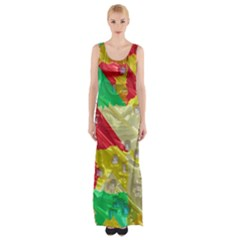 Colorful 3d Texture   Maxi Thigh Split Dress by LalyLauraFLM