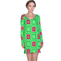 Green Red Squares Pattern    Nightdress by LalyLauraFLM