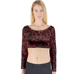 Officially Sexy Red & Black Cracked Pattern Long Sleeve Crop Top (tight Fit) by OfficiallySexy
