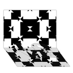 Black And White Check Pattern Love Bottom 3d Greeting Card (7x5)  by dflcprints