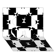 Black And White Check Pattern Clover 3d Greeting Card (7x5)  by dflcprints