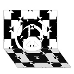 Black And White Check Pattern Peace Sign 3d Greeting Card (7x5)  by dflcprints