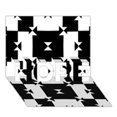 Black And White Check Pattern Hope 3d Greeting Card (7x5)  by dflcprints