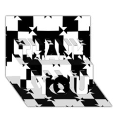Black And White Check Pattern Thank You 3d Greeting Card (7x5)  by dflcprints
