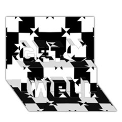 Black And White Check Pattern Get Well 3d Greeting Card (7x5)  by dflcprints