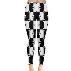 Black and White Check Leggings  by dflcprintsclothing