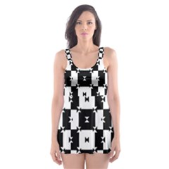Black And White Check Skater Dress Swimsuit