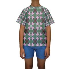 Pink Brown Flowers Pattern      Kid s Short Sleeve Swimwear by LalyLauraFLM