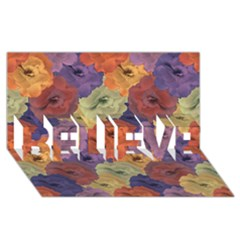 Vintage Floral Collage Pattern Believe 3d Greeting Card (8x4)  by dflcprints