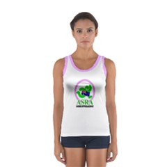 ASRA Ladies Women s Sport Tank Top white pink trim  by bunyaville