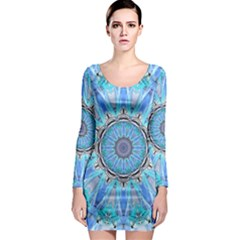 Sapphire Ice Flame, Light Bright Crystal Wheel Long Sleeve Bodycon Dress by DianeClancy